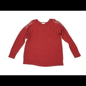 Jaclyn Smith Red Cold Shoulder Sweater Size XXL